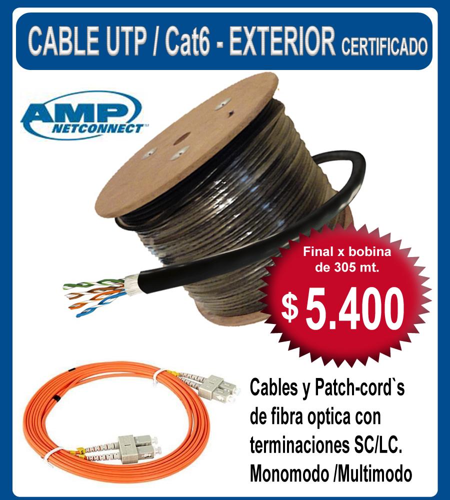 Cable utp cat6 exterior certificado amp bobina de 305mt - Cable para exterior ...