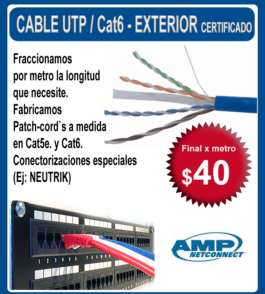 Cable utp cat 6 exterior certificado amp vta x10mts for Cable para internet precio por metro